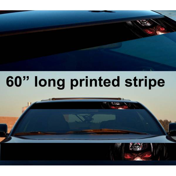 "60"" Naruto v5 Uzumaki Nine-Tails Konoha Sasuke Uchiha Sakura Haruno Anime Manga Sun Strip Printed Windshield Car Vinyl Sticker Decal>"