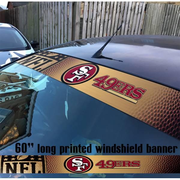 "60"" San Francisco 49ers Niners NFL American Super Bowl Football Sun Strip Printed Windshield Car Vinyl Sticker Decal"