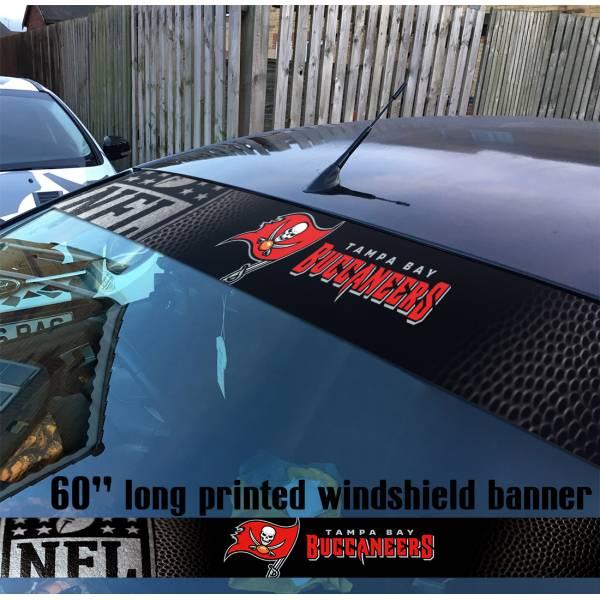 "60"" Tampa Bay Buccaneers Florida Bucs NFL American Super Bowl Football Sun Strip Printed Windshield Car Vinyl Sticker Decal"