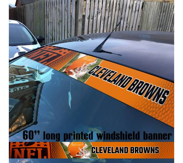 "60"" Cleveland Browns Logo Ohio NFL USA American Super Bowl Football Sun Strip Printed Windshield Car Vinyl Sticker Decal"