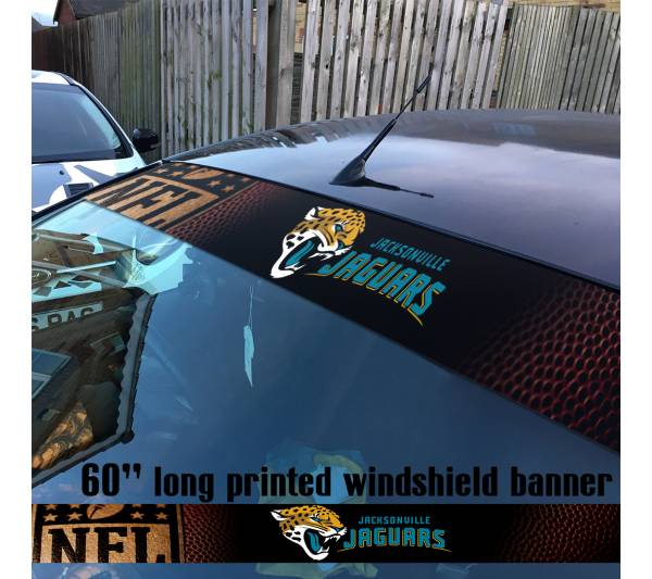 "60"" Jacksonville Jaguars Florida Logo NFL USA American Super Bowl Football Sun Strip Printed Windshield Car Vinyl Sticker Decal"