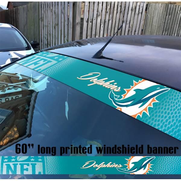 "60"" Miami Dolphins Logo v1 NFL USA American Super Bowl Football Sun Strip Printed Windshield Car Vinyl Sticker Decal"