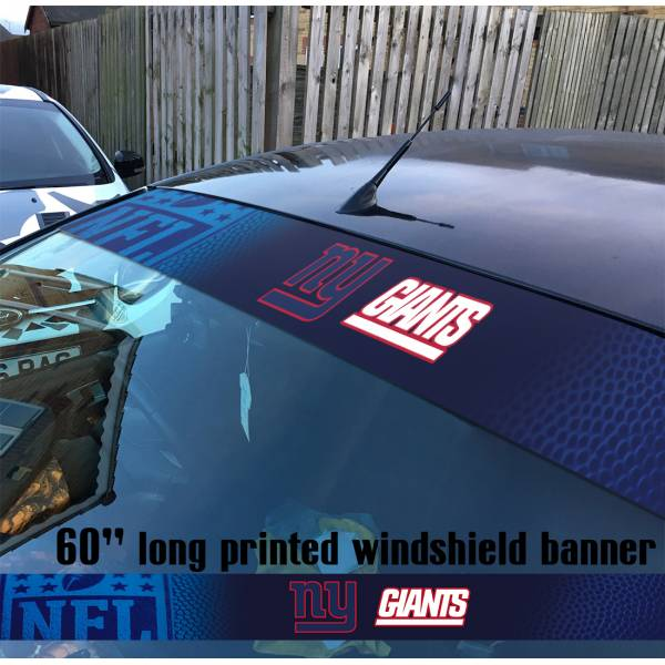 "60"" New York Giants Big Blue Wrecking Crew Jints NFL American Super Bowl Football Sun Strip Printed Windshield Car Vinyl Sticker Decal"
