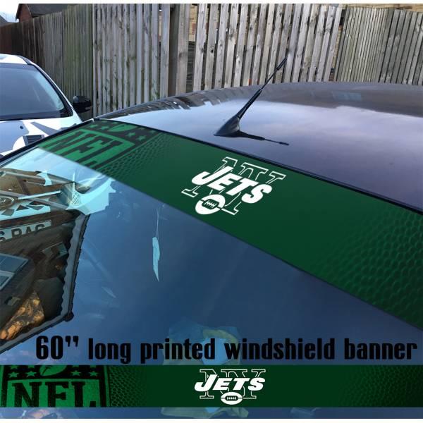 "60"" New York Jets Logo Jersey NFL USA American Super Bowl Football Sun Strip Printed Windshield Car Vinyl Sticker Decal"