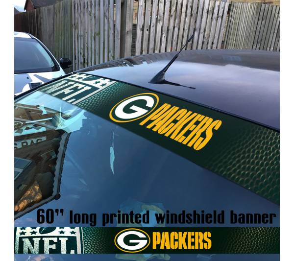 "60"" Green Bay Packers Pack NFL American Super Bowl Football Sun Strip Printed Windshield Car Vinyl Sticker Decal"