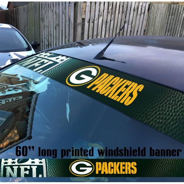 "60"" Green Bay Packers Pack NFL American Super Bowl Football Sun Strip Printed Windshield Car Vinyl Sticker Decal"