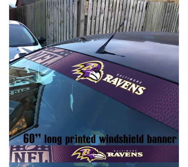 "60"" Baltimore Ravens Logo Maryland NFL USA American Super Bowl Football Sun Strip Printed Windshield Car Vinyl Sticker Decal"