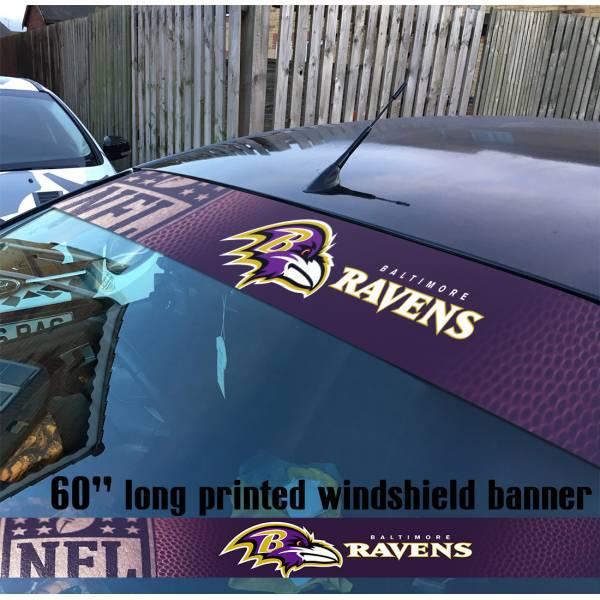 "60"" Baltimore Ravens Logo Maryland NFL USA American Super Bowl Football Sun Strip Printed Windshield Car Vinyl Sticker Decal"