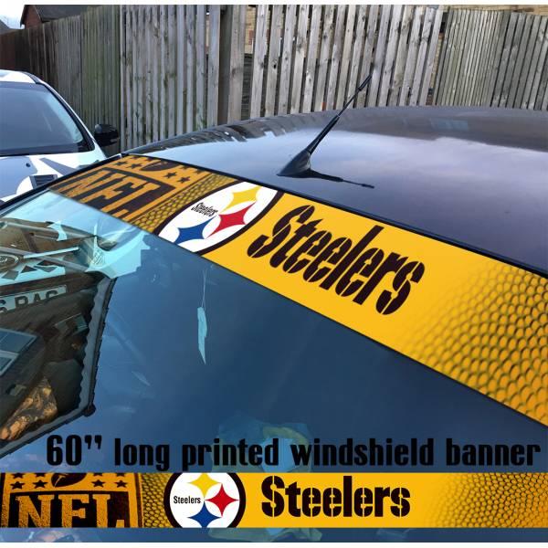 "60"" Pittsburgh Steelers Logo NFL USA American Super Bowl Football Sun Strip Printed Windshield Car Vinyl Sticker Decal"