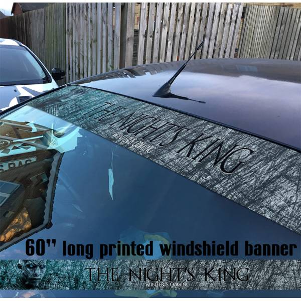 "60"" Game of Thrones King Night's Watch White Walker Snow Winter Coming Sun Strip Printed Windshield Car Vinyl Sticker Decal"