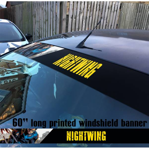 "60"" Nightwing Dick Greyson DC Superhero V1 Sun Strip Printed Windshield Vinyl Sticker Decal"