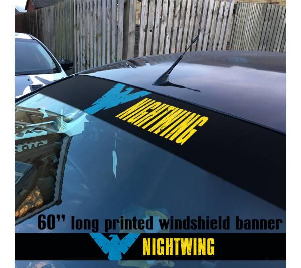 "60"" Nightwing Dick Greyson DC Superhero V2 Sun Strip Printed Windshield Vinyl Sticker Decal"