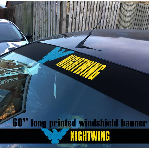 "60"" Nightwing Dick Greyson DC Superhero V2 Sun Strip Printed Windshield Vinyl Sticker Decal"
