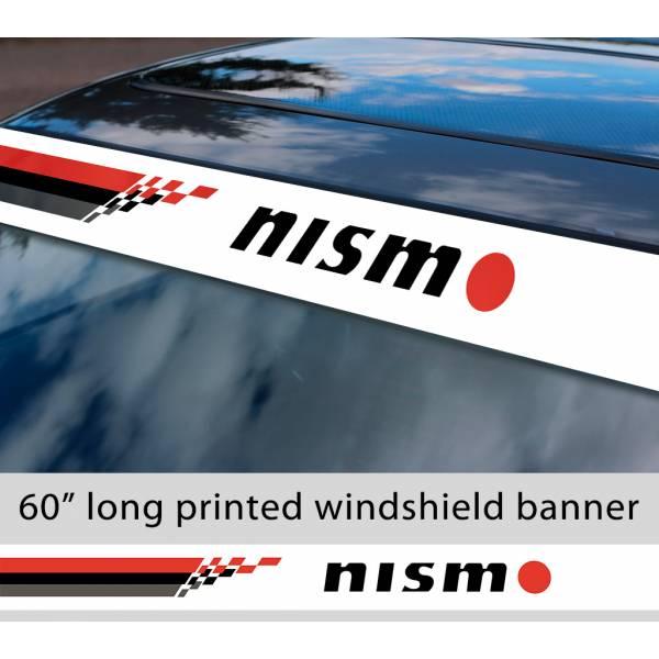"60"" Nismo Nissan Motorsport v4 350z 370z GTR Logo Sun Strip Printed Windshield Car Vinyl Sticker Decal"