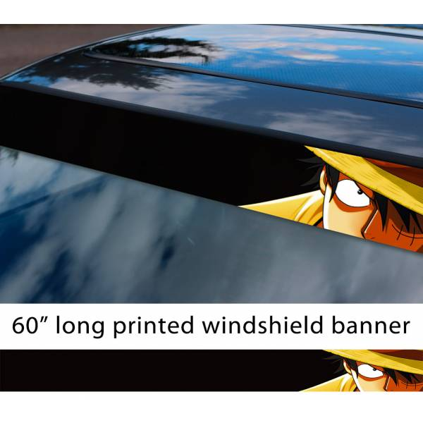 "60"" One Piece v1 Monkey D. Luffy Brook Pirates King Anime Manga Sun Strip Printed Windshield Car Vinyl Sticker Decal"