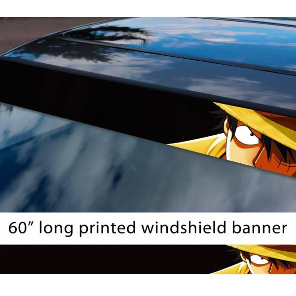 "60"" One Piece v1 Monkey D. Luffy Brook Pirates King Anime Manga Sun Strip Printed Windshield Car Vinyl Sticker Decal>"