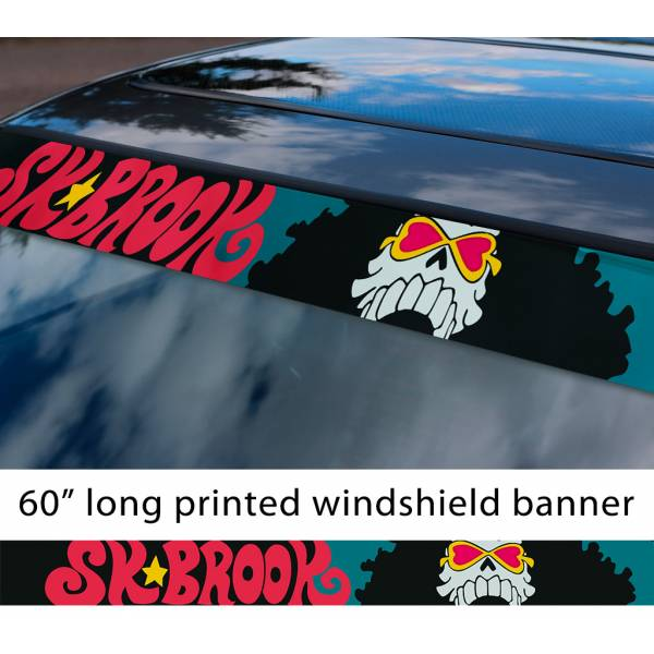 "60"" One Piece v2 Monkey D. Luffy Brook Pirates King Anime Manga Sun Strip Printed Windshield Car Vinyl Sticker Decal"