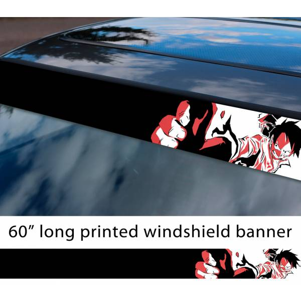 "60"" One Piece v3 Monkey D. Luffy Brook Pirates King Anime Manga Sun Strip Printed Windshield Car Vinyl Sticker Decal"
