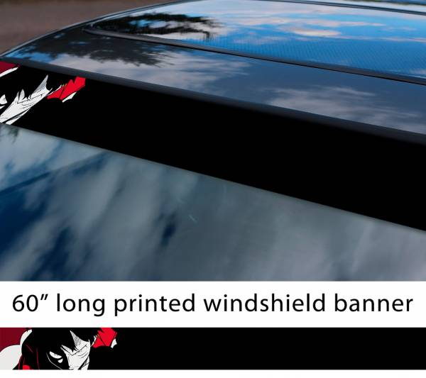 "60"" One Piece v5 Monkey D. Luffy Brook Pirates King Anime Manga Sun Strip Printed Windshield Car Vinyl Sticker Decal"