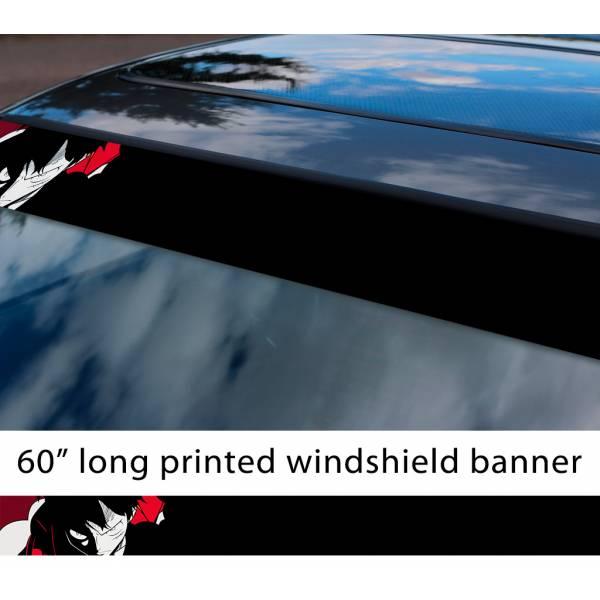 "60"" One Piece v5 Monkey D. Luffy Brook Pirates King Anime Manga Sun Strip Printed Windshield Car Vinyl Sticker Decal>"