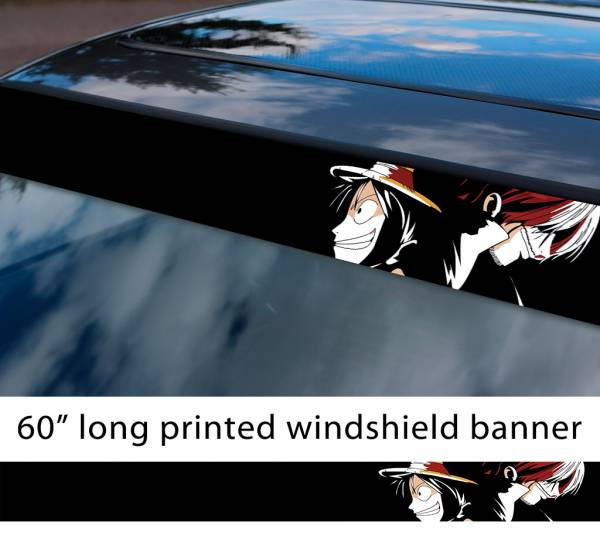 "60"" One Piece v6 Monkey D. Luffy Brook Pirates King Anime Manga Sun Strip Printed Windshield Car Vinyl Sticker Decal"