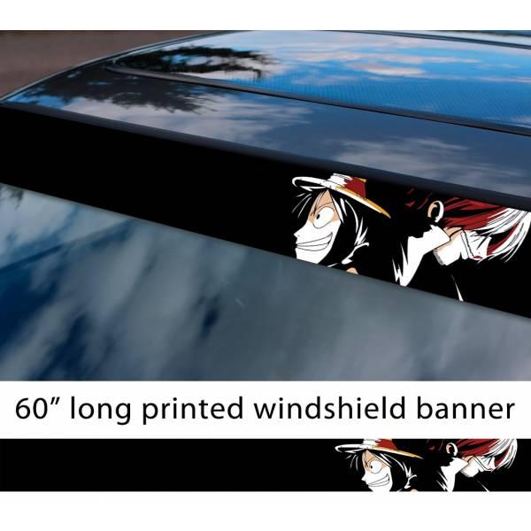 "60"" One Piece v6 Monkey D. Luffy Brook Pirates King Anime Manga Sun Strip Printed Windshield Car Vinyl Sticker Decal>"