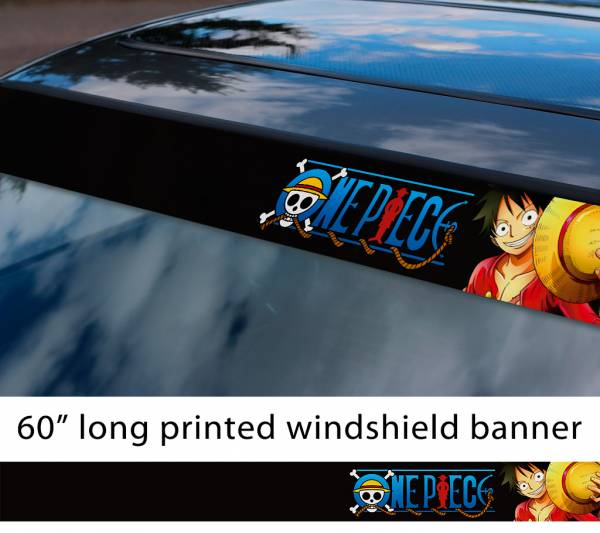 "60"" One Piece v7 Monkey D. Luffy Brook Pirates King Anime Manga Sun Strip Printed Windshield Car Vinyl Sticker Decal"