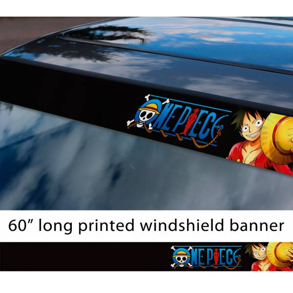 "60"" One Piece v7 Monkey D. Luffy Brook Pirates King Anime Manga Sun Strip Printed Windshield Car Vinyl Sticker Decal>"