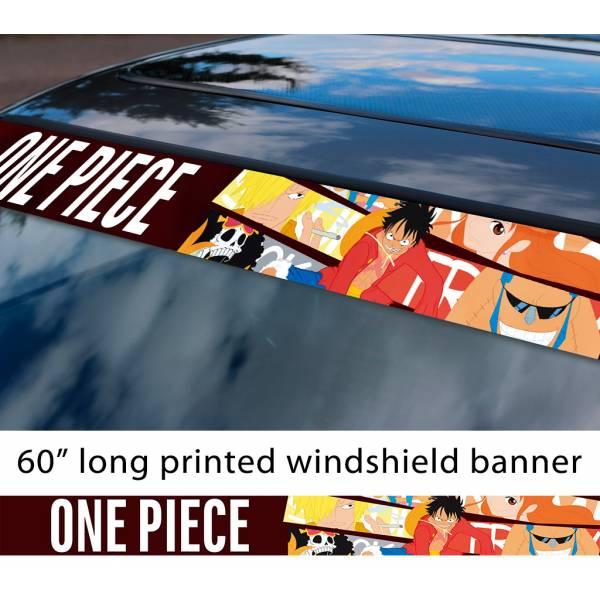 "60"" One Piece v9 Monkey D. Luffy Brook Pirates King Anime Manga Sun Strip Printed Windshield Car Vinyl Sticker Decal>"