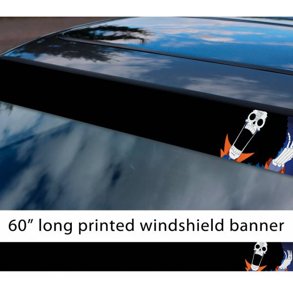 "60"" One Piece v10 Monkey D. Luffy Brook Pirates King Anime Manga Sun Strip Printed Windshield Car Vinyl Sticker Decal"