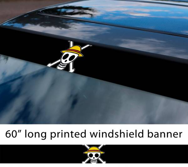 "60"" One Piece v14 Monkey D. Luffy Brook Pirates King Anime Manga Sun Strip Printed Windshield Car Vinyl Sticker Decal"