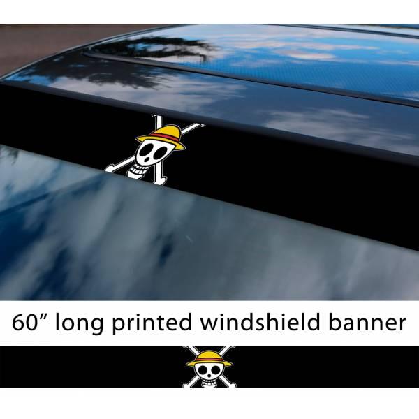 "60"" One Piece v14 Monkey D. Luffy Brook Pirates King Anime Manga Sun Strip Printed Windshield Car Vinyl Sticker Decal>"