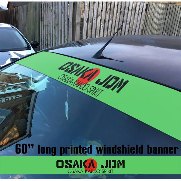 "60"" Kanjo Spirit Osaka JDM Rising Sun Japan Loop Angels Printed Sun Strip Windshield Banner Car Vinyl Sticker Decal"