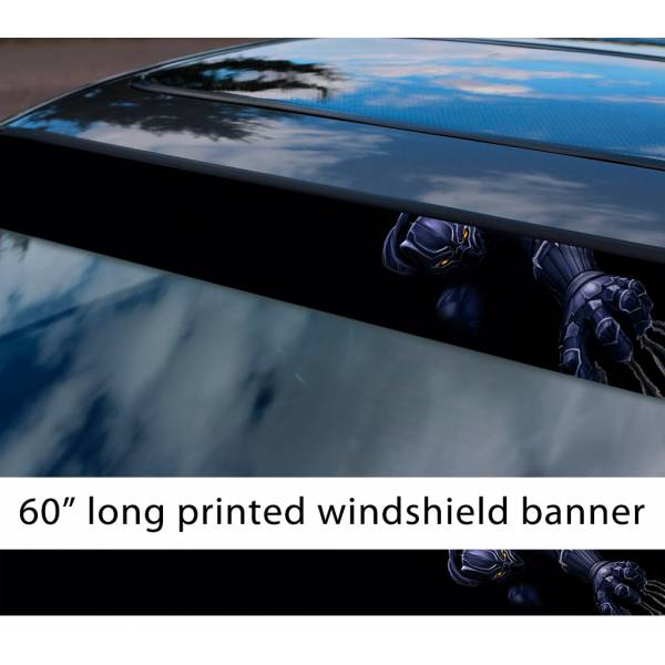 "60"" Black Panther Marvel Comics Avengers Fantastic Four Sun Strip Printed Windshield Car Vinyl Sticker Decal"