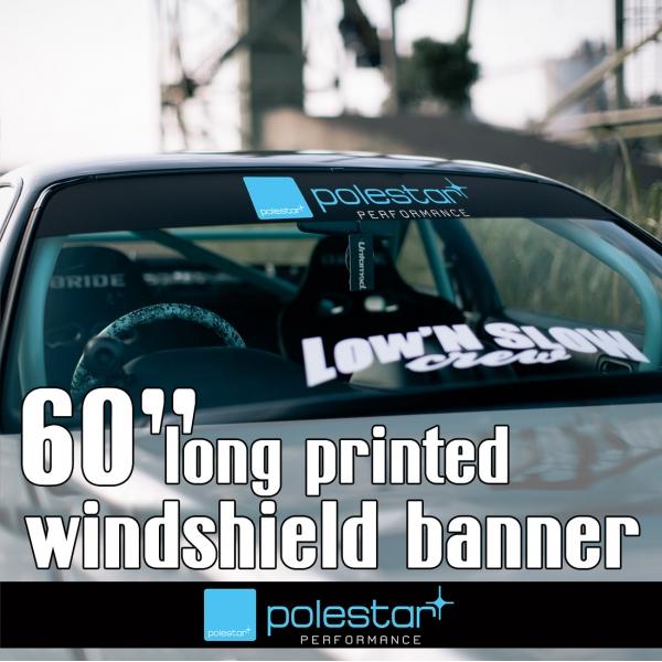 "60"" Polestar Performance v3 Badge CYAN Racing S60 V60 XC60 Sport Sun Strip Printed Windshield Car Vinyl Sticker Decal>"