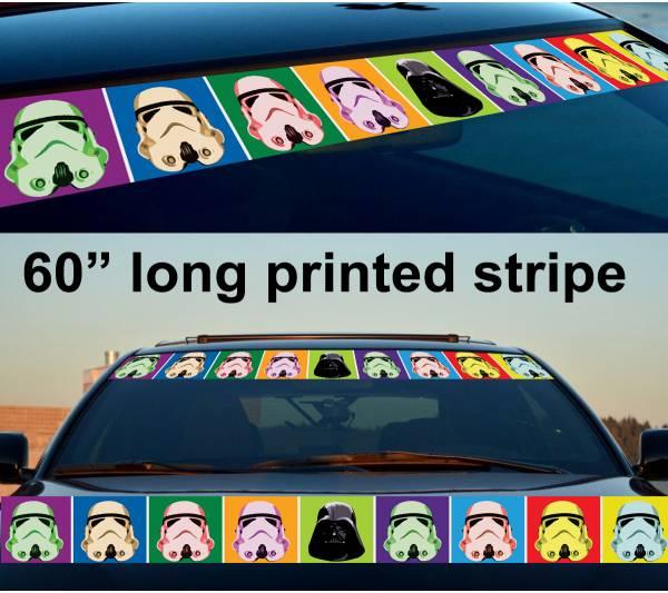 """60"""" Stormtrooper Darth Pop Art Strip Printed Windshield Car Vinyl Sticker Decal"""