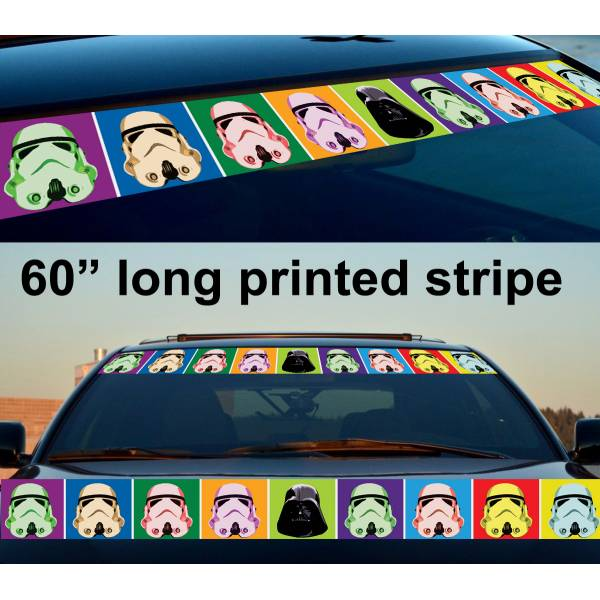 "60"" Stormtrooper Darth Pop Art Strip Printed Windshield Car Vinyl Sticker Decal>"
