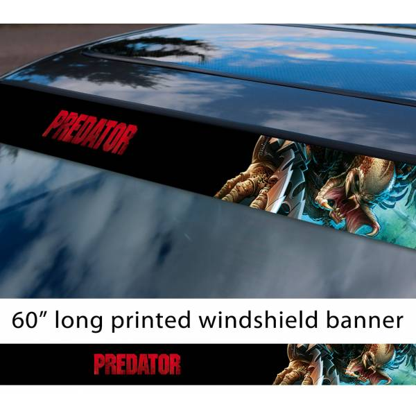 "60"" Predator v2 Mask Helmet Logo Movie U.S. Army Special Forces Alien Sun Strip Printed Windshield Car Vinyl Sticker Decal"