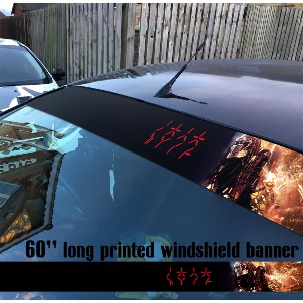 "60"" Yautja Helmet Hunting v4 Mask Movie U.S. Army Special Forces Sun Strip Printed Windshield Car Vinyl Sticker Decal>"