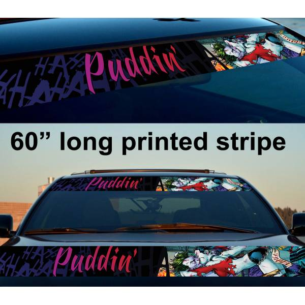 "60"" Daddys Lil Monster Puddin Hahaha Why So Serious Suicide Gotham Sun Strip Printed Windshield Car Vinyl Sticker Decal>"