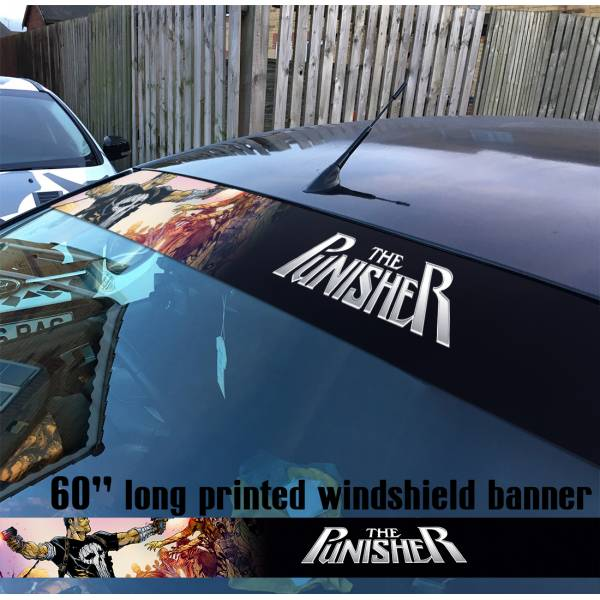 "60"" Punisher v1 Skull Marvel Comics Marine Corps USA Logo Sun Strip Printed Windshield Car Vinyl Sticker Decal"