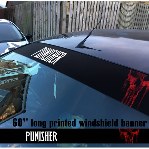 "60"" Punisher v2 Skull Marvel Comics Marine Corps USA Logo Sun Strip Printed Windshield Car Vinyl Sticker Decal"