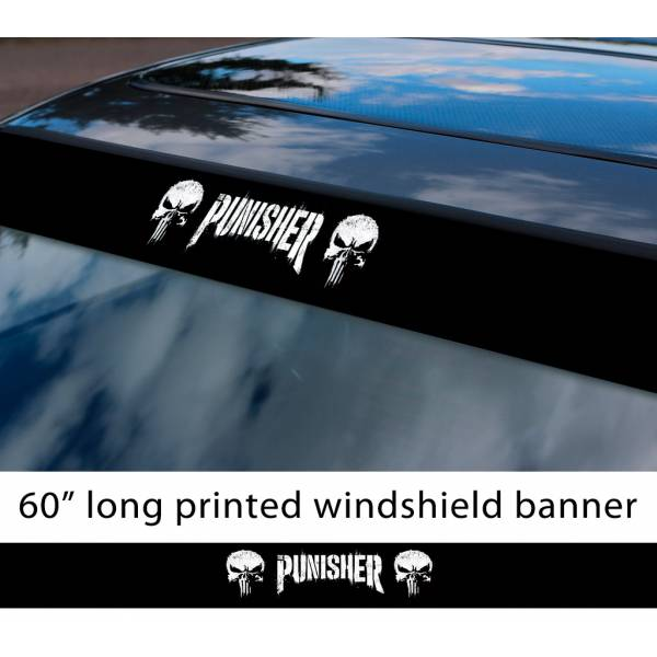 "60"" Punisher V3 Skull Marvel Comics Marine Corps USA Logo Sun Strip Printed Windshield Car Vinyl Sticker Decal"