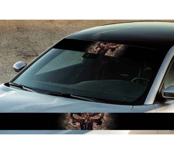 "60"" Punisher Superhero Logo Printed Windshield Banner Wrap Vinyl Sticker Car Truck"