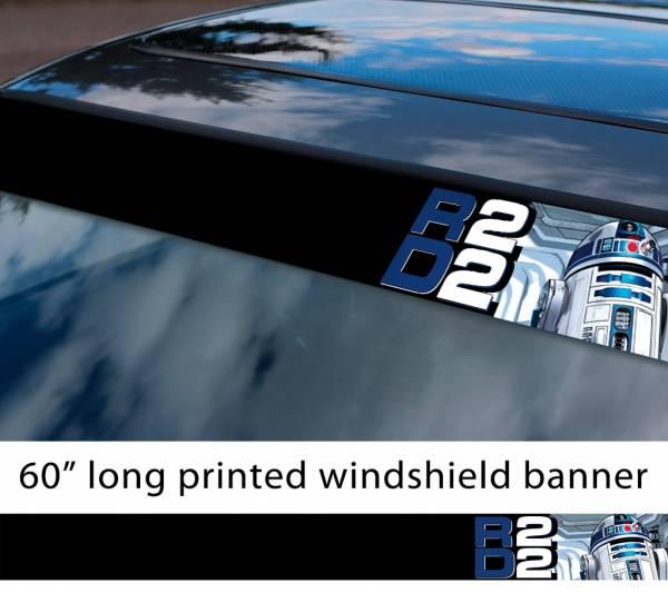 "60"" R2 D2 Droid v2 Rebel Alliance Jedi Skywalker R2D2 Star Wars First Order Sun Strip Printed Car Vinyl Sticker Decal"