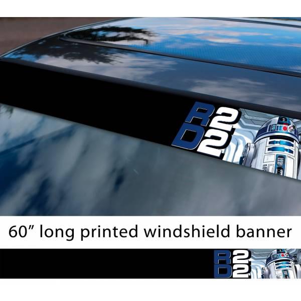 "60"" R2 D2 Droid v2 Rebel Alliance Jedi Skywalker R2D2 First Order Sun Strip Printed Car Vinyl Sticker Decal>"