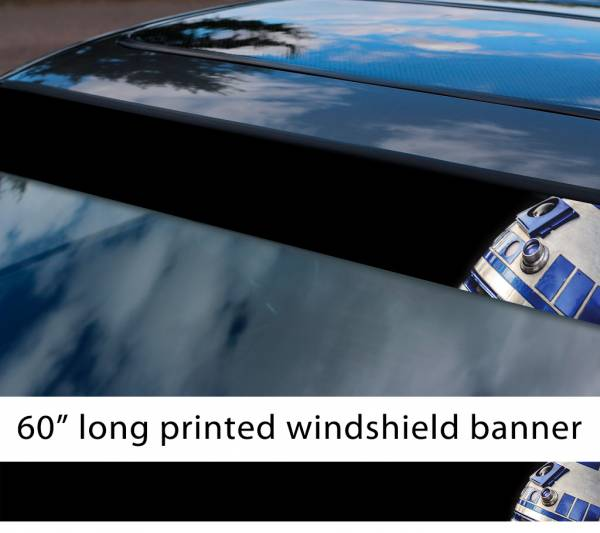 "60"" R2 D2 Droid v1 Rebel Alliance Jedi Skywalker R2D2 Star Wars First Order Sun Strip Printed Car Vinyl Sticker Decal"