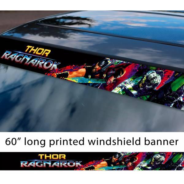 "60"" Thor v2 Superhero Ragnarok Hammer Mjolnir Asgard Loki Odin  Comic Sun Strip Printed Windshield Car Vinyl Sticker Decal"