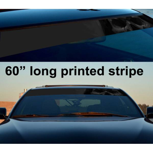 "60"" Skull Shadow Dark Death Sun Strip Printed Windshield Car Vinyl Sticker Decal>"