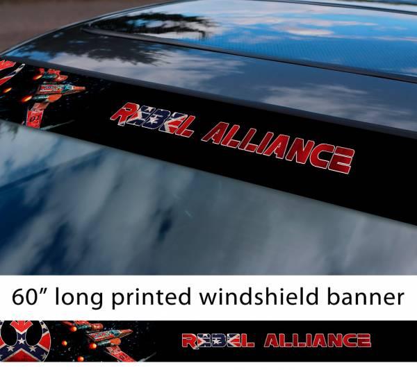 "60"" Rebel Alliance General Lee USA Star Wars X-Wing Fighter Darth Galactic Empare Sun Strip Printed Car Vinyl Sticker Decal"